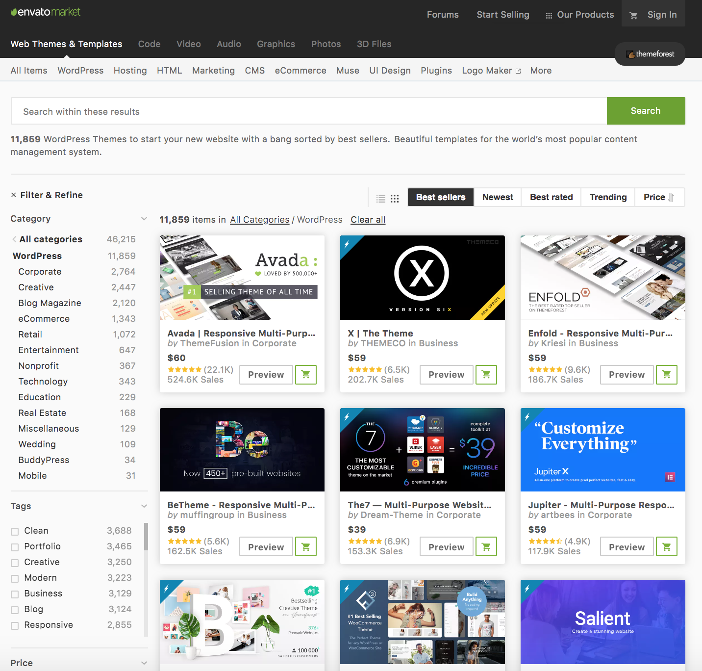 Envato Market Theme Forest WordPress Shopping